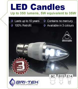 LED 5W Dimmable Candle Bulb