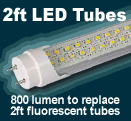 2ft LED tubes to replace fluorescents