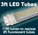 3ft LED tubes to replace fluorescents